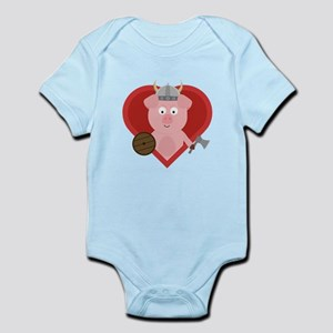 Viking pig with heart Body Suit