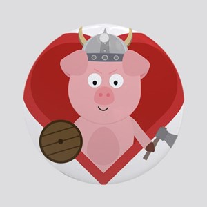 Viking pig with heart Round Ornament