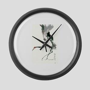 watercolor sandhill Large Wall Clock