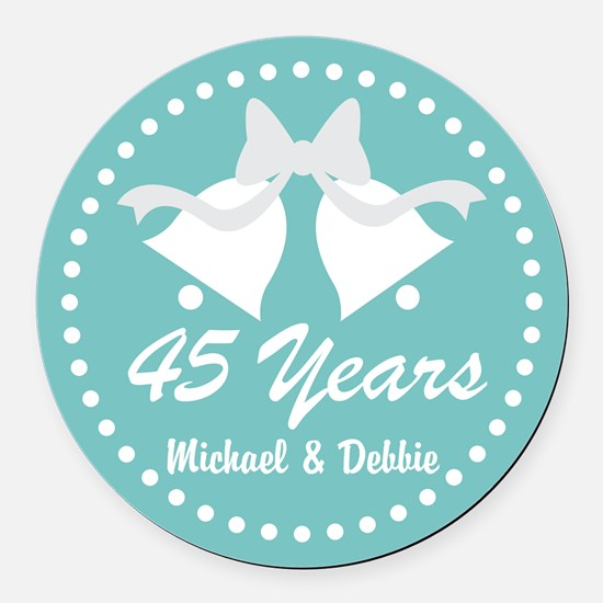 45th Anniversary Personalized Gift Round Car Magne