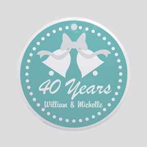 40th Anniversary Personalized Gift Round Ornament