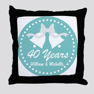 40th Anniversary Personalized Gift Throw Pillow