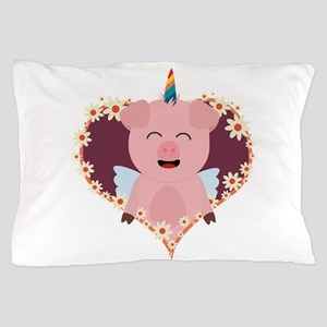 Unicorn Pig in flower heart Pillow Case