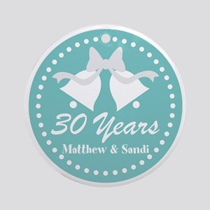 30th Anniversary Personalized Gift Round Ornament