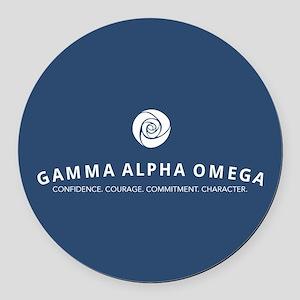 Gamma Alpha Omega Round Car Magnet