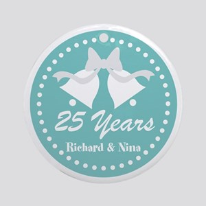 25th Anniversary Personalized Gift Round Ornament