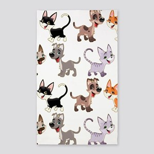 Cute Cats and Dogs Drawing Area Rug