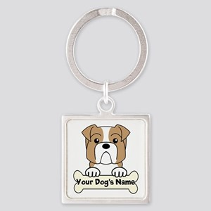 Personalized Bulldog Square Keychain