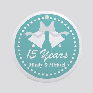 15th Anniversary Personalized Gift Round Ornament