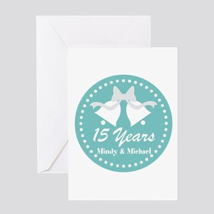 15th Anniversary Personalized Gift Greeting Cards