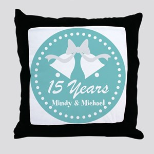 15th Anniversary Personalized Gift Throw Pillow