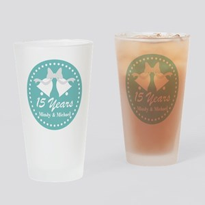 15th Anniversary Personalized Gift Drinking Glass