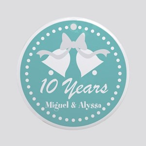 10th Anniversary Personalized Gift Round Ornament