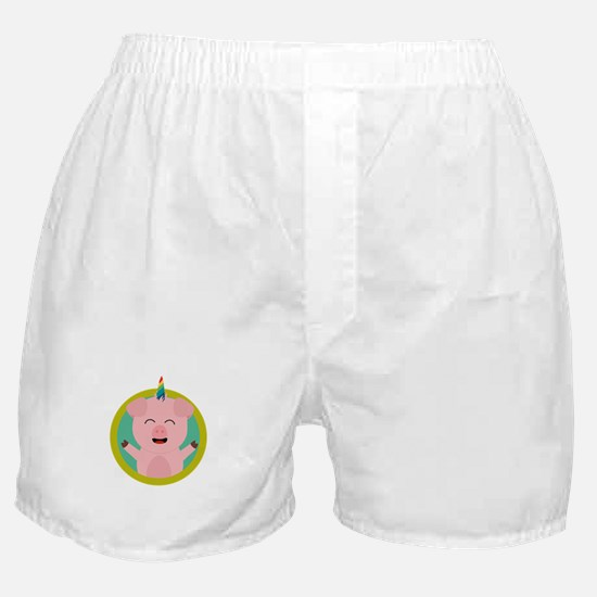 Unicorn Pig in green circle Boxer Shorts