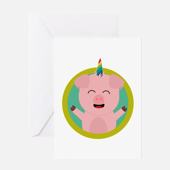 Unicorn Pig in green circle Greeting Cards