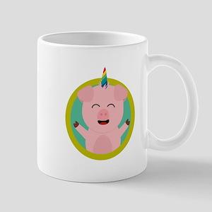Unicorn Pig in green circle Mugs