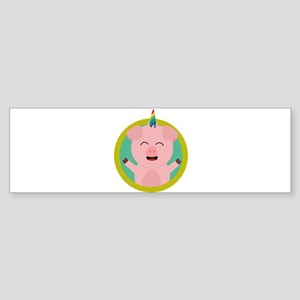 Unicorn Pig in green circle Bumper Sticker