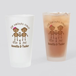 Funny 1st Anniversary Personalized Drinking Glass