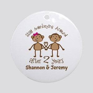Funny 2nd Anniversary Personalized Round Ornament