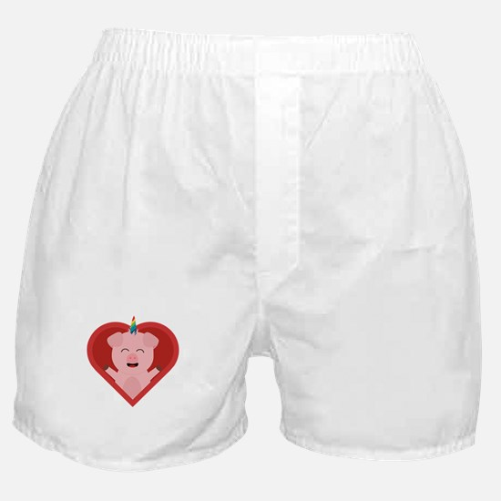 Unicorn Pig in Heart Boxer Shorts