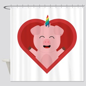 Unicorn Pig in Heart Shower Curtain