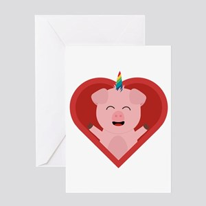 Unicorn Pig in Heart Greeting Cards