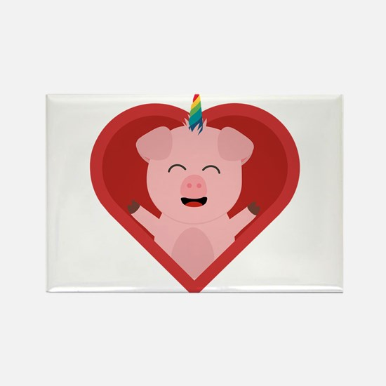 Unicorn Pig in Heart Magnets