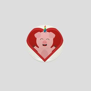 Unicorn Pig in Heart Mini Button