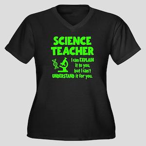 SCIENCE TEAC Women's Plus Size V-Neck Dark T-Shirt