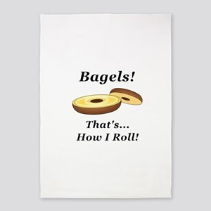 Bagels How I Roll 5'x7'Area Rug