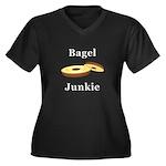 Bagel Junkie Women's Plus Size V-Neck Dark T-Shirt