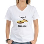 Bagel Junkie Women's V-Neck T-Shirt