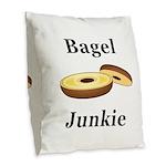Bagel Junkie Burlap Throw Pillow