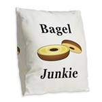 Bagel Junkie Burlap Throw Pillow