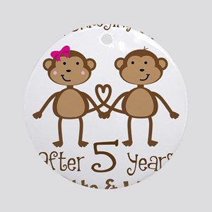 5th Anniversary Personalized Gift Round Ornament