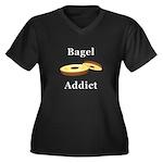 Bagel Addict Women's Plus Size V-Neck Dark T-Shirt
