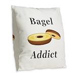 Bagel Addict Burlap Throw Pillow