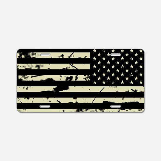 Weathered Reverse U.S. Flag (Sand) Aluminum Licens