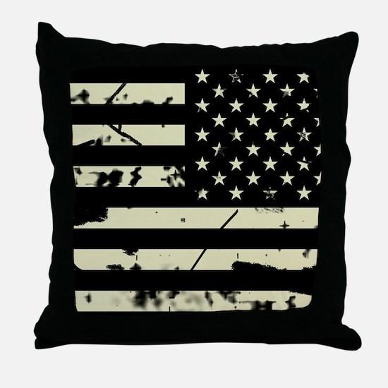 Weathered Reverse U.S. Flag (Sand) Throw Pillow