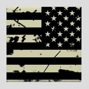 Weathered Reverse U.S. Flag (Sand) Tile Coaster