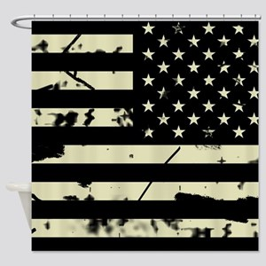 Weathered Reverse U.S. Flag (Sand) Shower Curtain