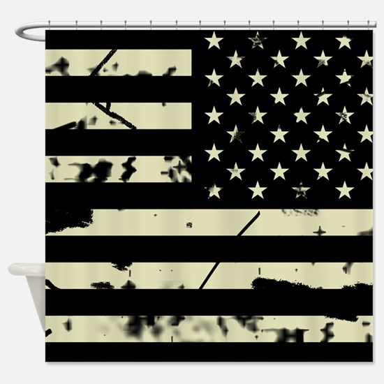 Weathered Reverse U.S. Flag (Sand) Shower Curtain
