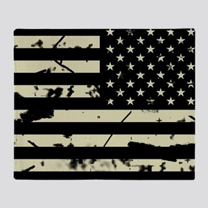 Weathered Reverse U.S. Flag (Sand) Throw Blanket