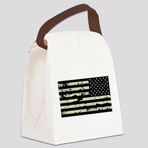 Weathered Reverse U.S. Flag (Sand) Canvas Lunch Ba