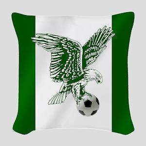 Nigerian Football Flag Woven Throw Pillow