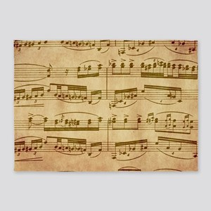 Vintage Sheet Music 5'x7'Area Rug