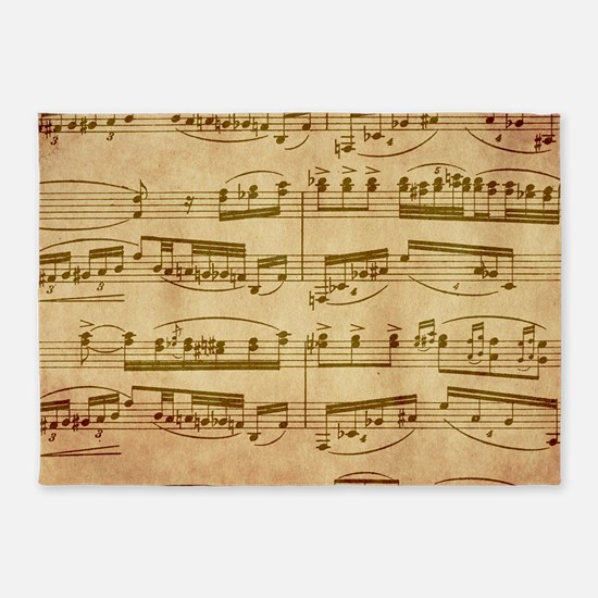 Vintage Sheet Music 5 X7 Area Rug