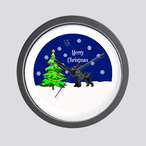 Schnauzer Merry Christmas Wall Clock