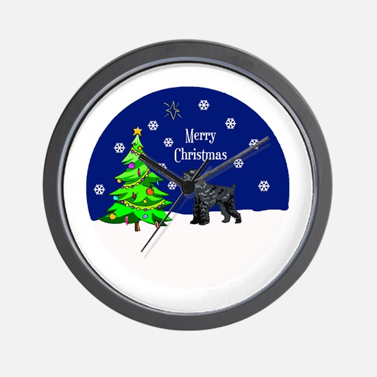 Schnauzer Merry Christmas Wall Clock