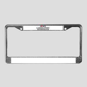 I love my laboratory technicia License Plate Frame